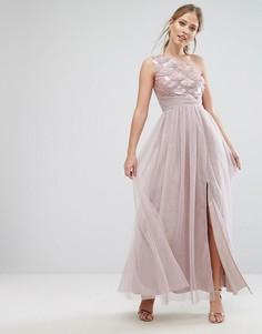 Платье макси на одно плечо с пайетками Little Mistress - Бежевый