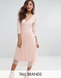Платье с запахом и юбкой из тюля Vero Moda Tall - Бежевый