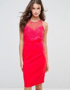 Облегающее платье миди с отделкой Little Mistress - Розовый