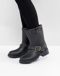 Резиновые байкерские сапоги с пряжками JUJU Bonnie - Черный