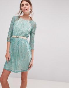 Кружевное платье мини с ремнем Little Mistress - Зеленый