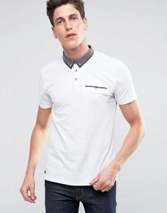 Поло с контрастным воротником и карманом Threadbare - Белый