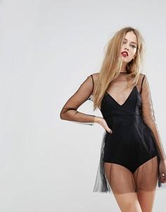 Прозрачное сетчатое платье с подкладкой-боди NaaNaa - Черный