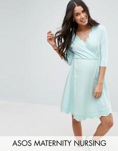 Короткое приталенное платье для беременных с запахом ASOS Maternity - Зеленый