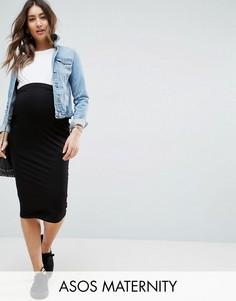 Трикотажная юбка-карандаш миди ASOS Maternity - Черный