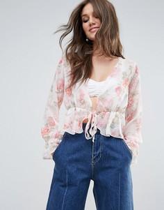 Блузка с глубоким вырезом и цветочным принтом PrettyLittleThing - Бежевый