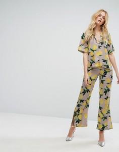Широкие брюки с принтом и боковыми разрезами Aeryne - Мульти