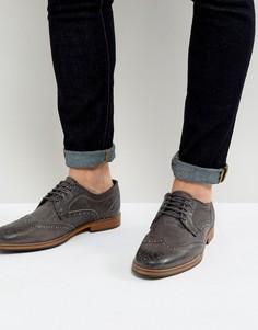Серые кожаные броги ASOS - Серый