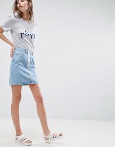 Джинсовая юбка с открытой молнией ASOS - Синий