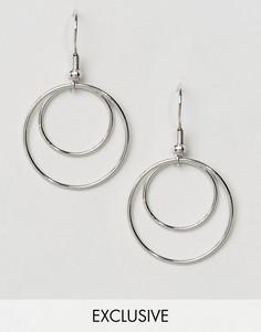 Двойные серьги-кольца Reclaimed Vintage - Серебряный