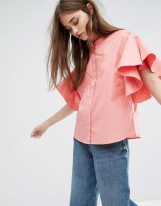 Рубашка с рукавами-оборками Weekday - Розовый