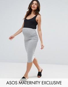 Трикотажная юбка-карандаш с посадкой над животом ASOS Maternity PETITE - Серый