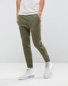 Зеленые узкие джоггеры в стиле милитари Hollister - Зеленый