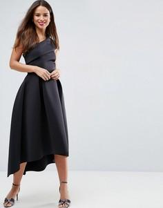 Приталенное платье миди на одно плечо с удлиненным кроем сзади ASOS - Черный