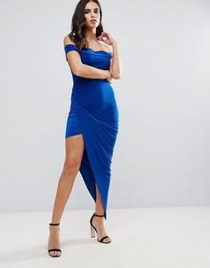 Платье с широким вырезом и асимметричным низом Club L - Синий