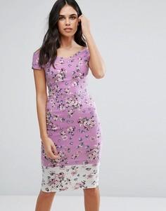 Платье-футляр миди со спущенными плечами и цветочным принтом Vesper - Мульти