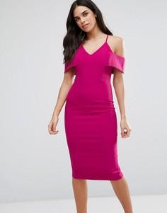 Платье-футляр миди с открытыми плечами Vesper - Розовый