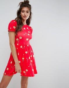 Чайное платье с цветочным принтом и пышными рукавами ASOS - Мульти