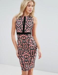 Платье миди с графическим принтом Vesper - Мульти