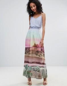Платье макси с принтом и поясом Uttam Boutique - Мульти