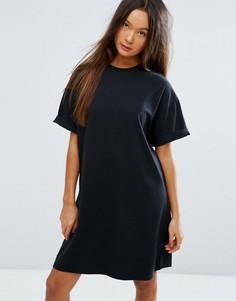Платье-футболка с отворотами на рукавах ASOS Ultimate - Черный