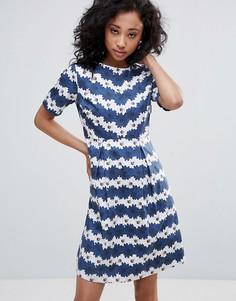Короткое приталенное платье в цветочную полоску Uttam Boutique - Темно-синий