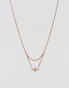 Золотисто-розовое ожерелье с подвеской-пчелой Olivia Burton - Золотой