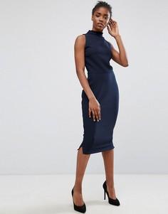 Платье-футляр с оборкой на воротнике Alter - Темно-синий