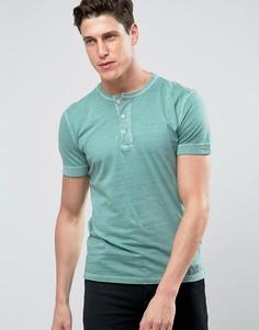 Зеленая обтягивающая футболка хенли с манжетами в рубчик Abercrombie & Fitch - Зеленый