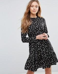 Чайное платье с длинными рукавами Yumi - Черный
