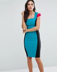 Платье-футляр в стиле колор блок с открытыми плечами Vesper - Мульти