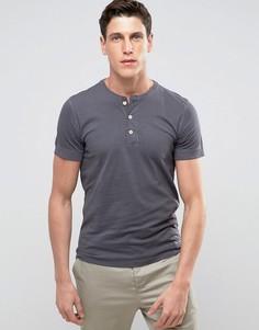 Черная обтягивающая футболка хенли с манжетами в рубчик Abercrombie & Fitch - Черный