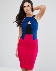 Платье-футляр в стиле колор блок с запахом Vesper - Розовый