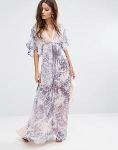Длинное платье-кимоно Foxiedox Tye - Синий