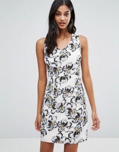 Цельнокройное платье с пальмовым принтом Poppy Lux Capri - Белый
