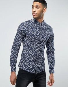 Эластичная супероблегающая рубашка с цветочным принтом ASOS - Темно-синий