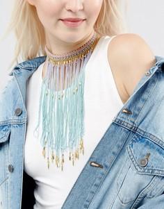 Ожерелье-чокер с блестками и эффектом омбре ASOS - Мульти