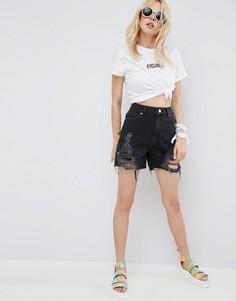 Рваные джинсовые шорты черного цвета ASOS - Черный