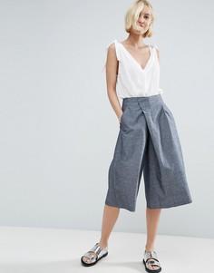 Юбка-брюки из шамбре с запахом ASOS - Синий