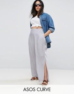 Фактурные льняные брюки с разрезами ASOS CURVE - Синий