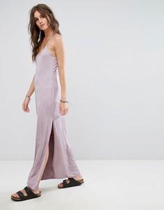 Трикотажное платье-комбинация макси Free People - Фиолетовый