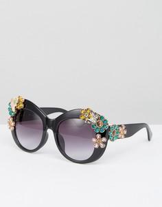 Большие солнцезащитные очки с 3D цветами Jeepers Peepers - Черный