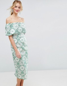 Платье-футляр миди с лазерной отделкой ASOS SALON - Мульти