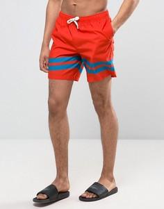 Оранжевые шорты для плавания средней длины с полосками на штанинах ASOS - Оранжевый