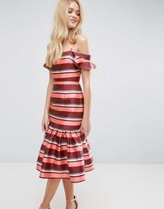 Платье миди в полоску с рукавами клеш ASOS - Мульти