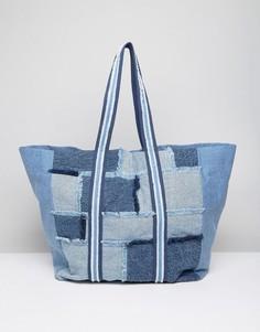 Джинсовая большая сумка-шоппер в стиле пэтчворк ASOS LIFESTYLE - Синий