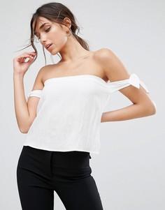 Блузка с открытыми плечами и завязками Unique21 - Белый