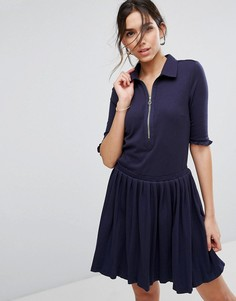 Платье-рубашка с плиссировкой и молнией Unique21 - Темно-синий