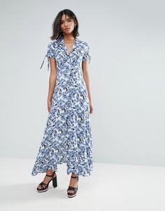 Платье-рубашка макси с принтом Unique 21 - Синий