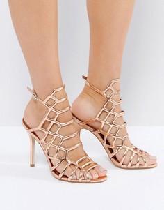 Золотистые решетчатые босоножки на каблуке Steve Madden Slithur - Золотой
